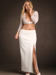 Hips & Curves Plus Size White Side Slit Skirt