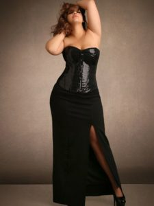 Hips & Curves Plus Size Black Side Slit Skirt