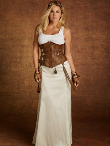 Hips & Curves Plus Size Ivory Taffeta Skirt