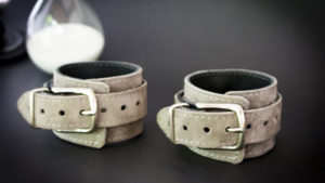 Oddo Leather Gray Suede Wrist Cuffs
